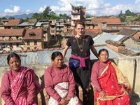 in Newari village with friends