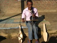 The stages of making a sarangi