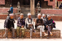 Newari men in a village, Kathmandu Valley of Nepal